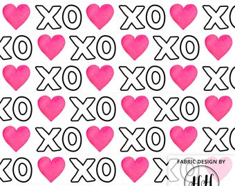 XOXO Heart Fabric - White / Valentine's Day Fabric / Hugs and Kisses Fabric / Bold Watercolor Heart Print by the Yard and Fat Quarter