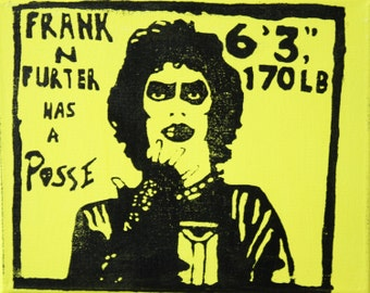 """Hand-Pulled Frank N Furter """"Posse"""" Pop Art, Street Art Screened Canvas Inspired by Rocky Horror Picture Show - 8"""" x 10"""", Mult. Colors Avl"""