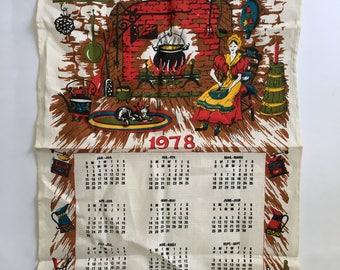 Vintage Calendar Linen tea Towel / 1978 Pure Linen Kitchen Tea Towel