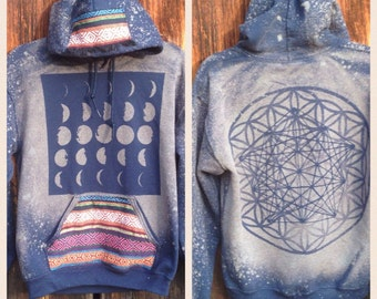 Made to Order Unisex Pullover Stealie Sacred Geometry Ethnic Fabric Hoodie EyKHScA