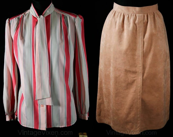 1970s Suede amp; Cover Le Deadstock Blouse Suit Dollar 31436 Waist 26 595 Beige Size Tag Ultra Original Pink 6 Vibrant Striped Roth qZaxt4nTW