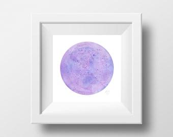 Purple Moon Watercolor Print