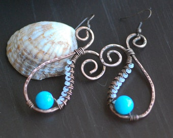Wire Wrapped Aquamarine Earrings Hammered Copper Earrings Antiqued Copper Rustic Copper Earrings Earrings turquoise Copper earrings Boho