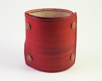 Wrist Wallet Leather Wrist Wallet, Unique Gift for Traveling, Wrist Wallet for Women Leather Cuff Wallet, Cash Wallet, Red w/ Brown Thread
