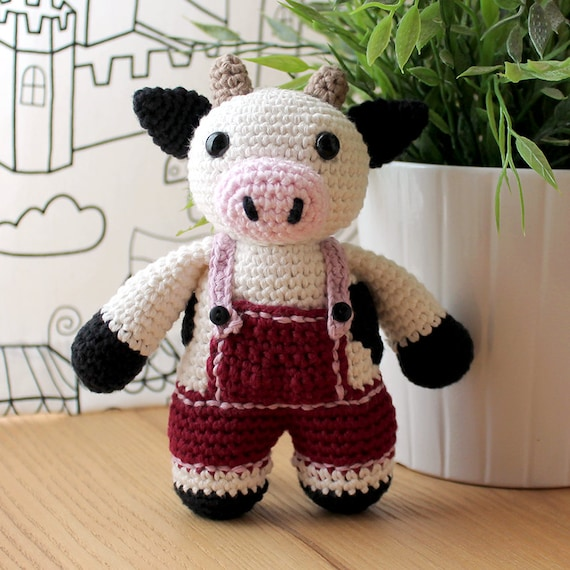 Cow - Animalius. Amigurumi Pattern PDF, Farm Animal Toy, Nursery Doll, Crochet Pattern, Cute Children Gift, DIY, Crafts, Instant download