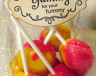 "Wedding Favor Sticker /Adhesive Label ""Yummy for your Tummy"" SET of 25-Perfect for Sealing Candy Favor Bags"