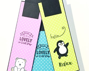 Set of 3 bookmarks with polar bear, penguin and seal - Book markers with cute animals - page markers for animal lovers - handmade gift