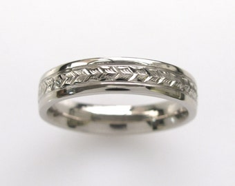 Hand Engraved Mens Wedding Band with Wheat Leaf Pattern