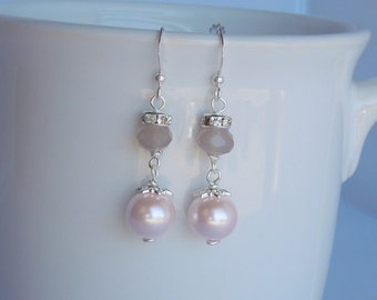Pale Pink and Gray Bridesmaid Earrings - Rhinestone, Blush Pink Pearl and Grey Crystal in Silver