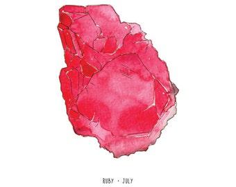 July Ruby birthstone print