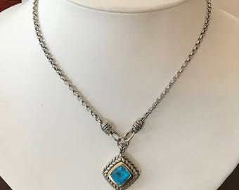 Sterling Silver & 18K Gold Blue Topaz Pendant and Necklace