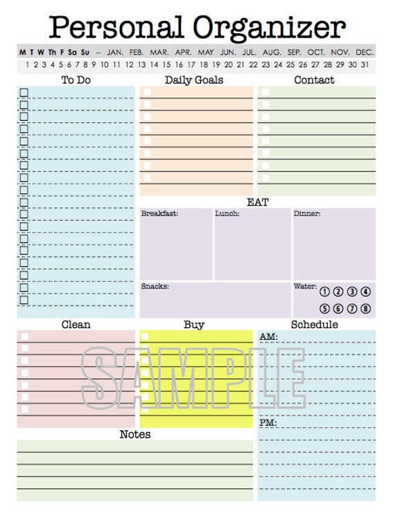 Shocking image intended for free printable organizer