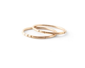 Carved Tribal Stacking Rings / solid 14k gold or gold fill / dainty layering rings / single or pair