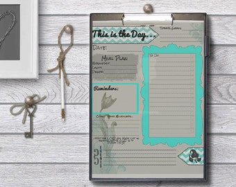 This Is The Day Planner - PDF - Grey and Teal - To Do List - Reminders - Events- Menu Plan- Dry Erase- Printable- Instant Download