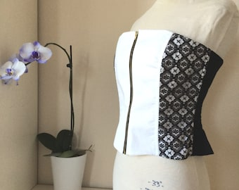Black and White - Lace Casual Corset with Completely Separating Zipper - Medium - FINAL SUPER SALE!!
