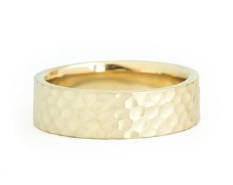 14k Yellow Gold Band (4mm) | HAMMERED | Matte Flat + Comfort Fit | Men's Women's Wedding Ring