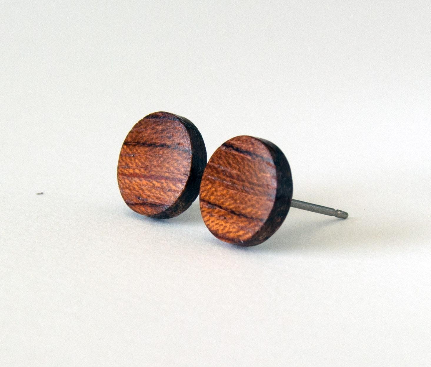 Wood studs wood earrings mens earrings wooden stud