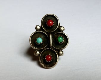 Vintage Silver Turquoise and Coral Ring Southwest Boho Ring