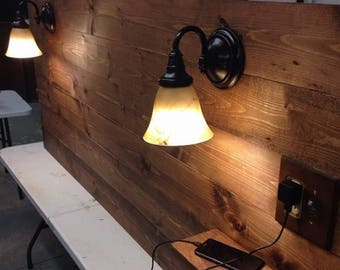 Beautiful reclaimed look head board all sizes with lights Amish style rustic 25% off free ship USA