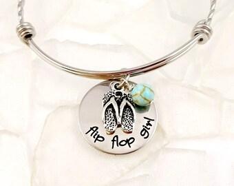 Flip Flop Girl Bracelet - Flip Flop Jewelry  Cruise - Ocean - Vacation - Ocean Jewelry - Cruise Bracelets - Vacation Jewelry