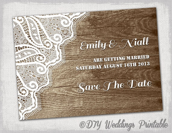Rustic save the date template printable diy wood for Diy save the date magnets template