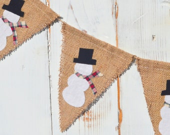 Snowman Burlap Banner, Flag, Bunting, Pennant...Photo Prop...Winter Christmas Decoration...Home Decoration