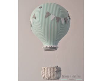 Mint Gray BIG Hot Air Balloon Wicker Basket Choose Your Size: S,M,L Travel Theme Nursery Decoration World Map
