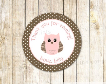 Owl Favor Label - Owl Gift Tag Owl Stickers Owl Baby Shower Label Pink Brown Owl Birthday Label Thank You Label Birds Favor Decoration