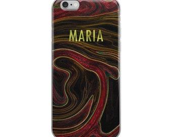 Custom Name Liquid Marble iPhone Case Red