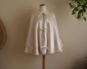 Vintage satin and fur reversible cape