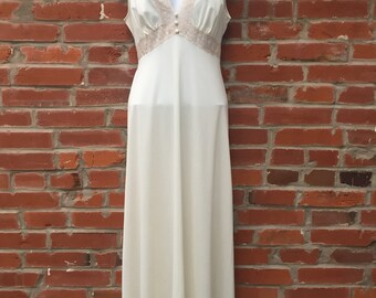 Vintage 60s 70s Cream Tan Lace Nightgown Dress Tie Waist Womens (1657)