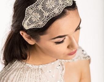 Gold lace headband - gold - lace headband - wedding