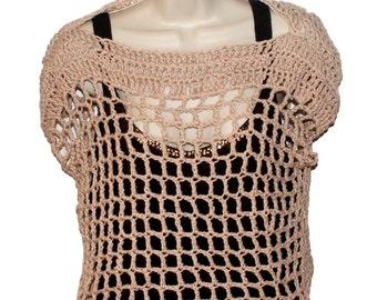 Cotton Crop Top, Womens Clothing, Plus Size Tee, Womans Top, Cream Tee, Crochet Top, Tan T, Mesh Tee, Crochet Tee, Summer Top, Cotton Tee