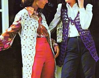 INSTANT DOWNLOAD PDF Vintage Crochet Pattern Granny Squares Waistcoat and Lacy Tie Front Vest 1970s Retro