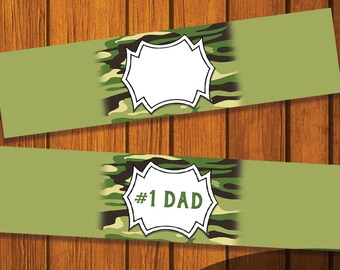 Mason Jar Printable Label / #1 Dad / Camouflage / Mason Jar / Instant Download / Digital Download / Dad / Father