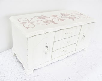 Painted Jewelry Box, Large Antique White Vintage Jewelry Box, Stenciled Jewelry Box, Mother's Day Jewelry Box