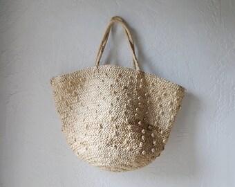Woven Grass Zipper Tote // Beach Bag