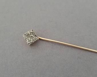 CLOSING SALE // Antique Victorian 10K Rosey Gold, Pyrite / Druzy / Fools Gold / Quartz Geo Stickpin - Choose Your Customization