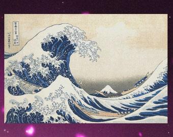 Counted Cross Stitch, Old Masters Cross Stitch, Instant PDF Download Cross Stitch Pattern The Great Wave at Kanagawawa,