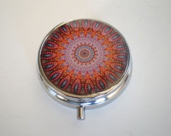 Pill box, Pill case, Mandala pill box, Pill container, Jewelry box, Mint case, Pills, Mandala