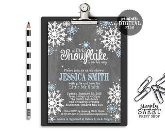 Winter Wonderland Boy Baby Shower Invite Invitation Blue White Snow Snowflakes Chalk Chalkboard Wintery Unique Modern DIY Baby Boy Invite