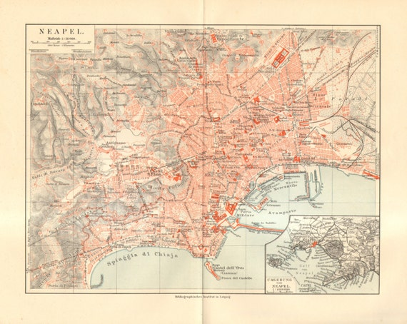 1909 Antique City Map of Naples Italy