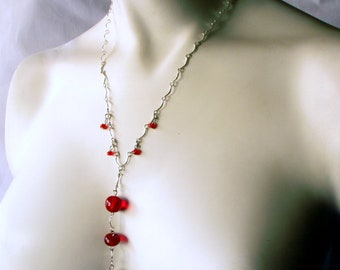 Red Glass Bead and Silver Tone Chain Necklace and Earring Set / Vintage Glass Beads / Handcrafted / Original / One of a Kind