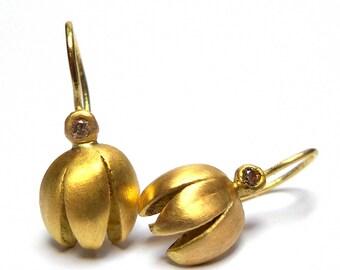 Simplicity Earrings - Gold Earrings - 18K Gold Earrings - Diamond Earrings - Seeds Collection - Free Shipping!!!