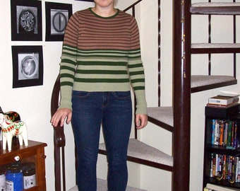 Vintage pink and green striped sweater - small