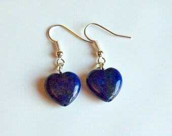 Beautiful Lapis Lazuli Heart Drop Earrings - September Birthstone