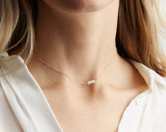 Dainty Pearl Choker Necklace • Simple Gold Choker • Beaded Chain Choker or Short Layering Necklace • Gold Fill, Sterling, Rose Gold, LN635