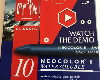 Neo Colors ii  Caran D'Ache Classic Colors  10 Water Soluble Wax Pastels