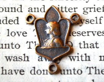 """St. Joan of Arc Rosary Center - 3/4"""" - Bronze or Sterling Silver - Vintage Replica - Made in the USA - Joan of Arc - Rosary Parts (R113-820)"""