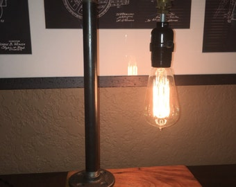 Industrial Steampunk Desk Lamp with Wormy Chestnut Base - Industrial Lamp - Industrial Lighting - Unique Lamp - Unique Lighting -